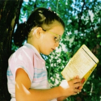 Little Lizzie Reading in Tree