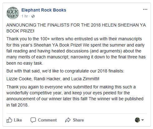 Elephant Rock Books 2018 YA Contest Finalists