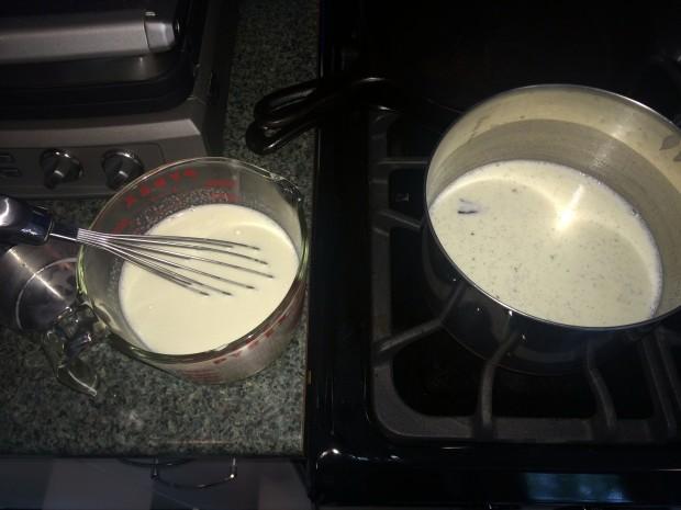 combine eggs with warm cream