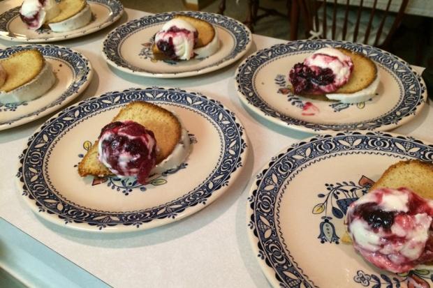 Roasted Cherry Ice Cream with Almond Cake